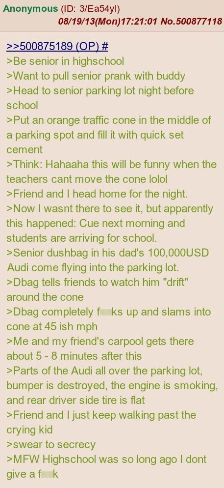 audi justice 4chan rich kids senior pranks high school douchebags cement