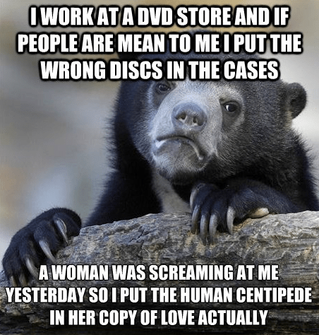 the human centipede,dvds,love actually,Confession Bear