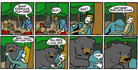 playing dead,bears,web comics