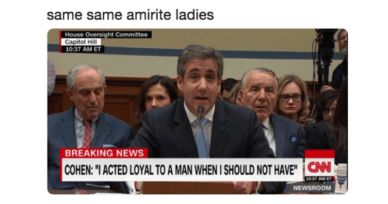 Funny memes about michael cohen hearing, donald trump, marie kondo.