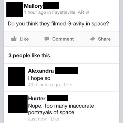 FAIL,movies,Gravity,science,space