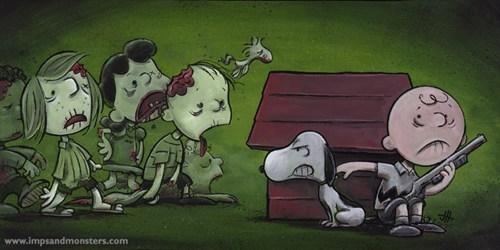 Fan Art,mashup,peanuts,The Walking Dead