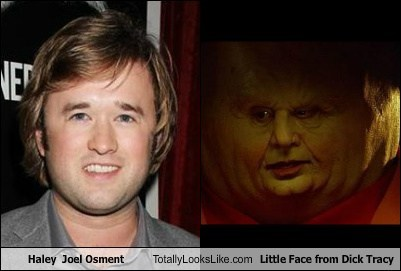 haley joel osment,dick tracy,totally looks like,little face