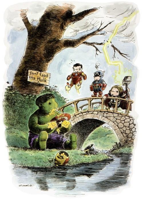 the hulk Fan Art winnie the pooh avengers - 7852577536