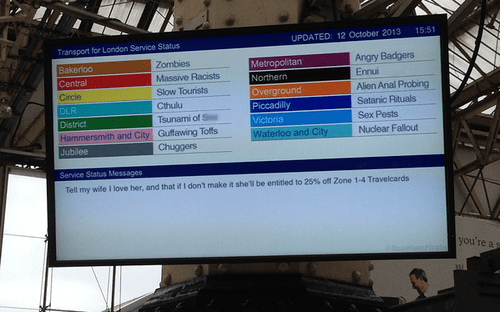 london underground,the tube,hacked signs,monday thru friday,g rated