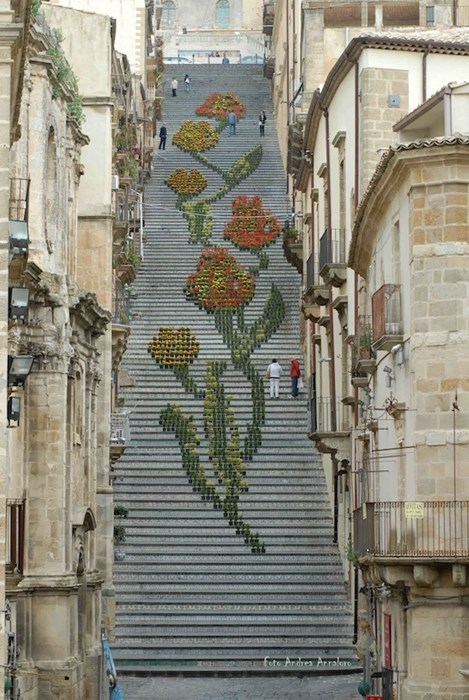 design stairs flowers pretty colors - 7852904192