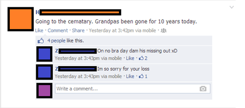 insensitive Grandpa no bra day