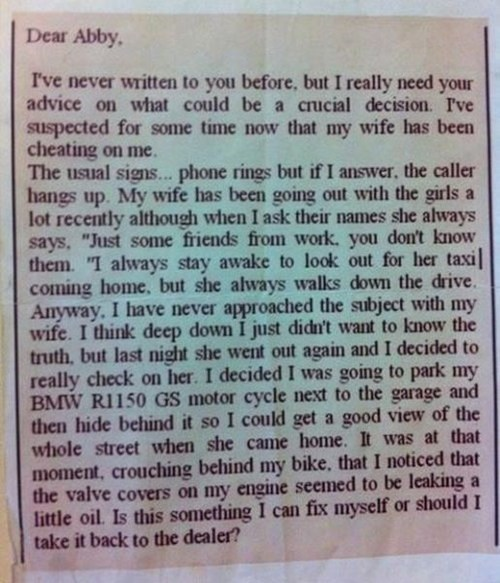 advice,cheating,funny,dear abby