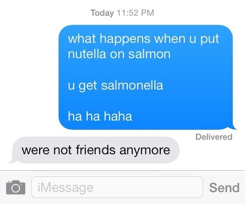 salmon nutella salmonella texting - 7854376704
