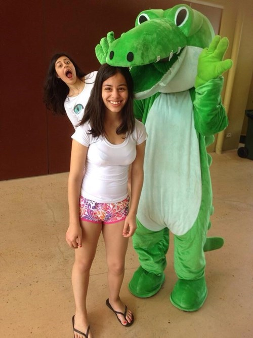 costume photobomb alligator