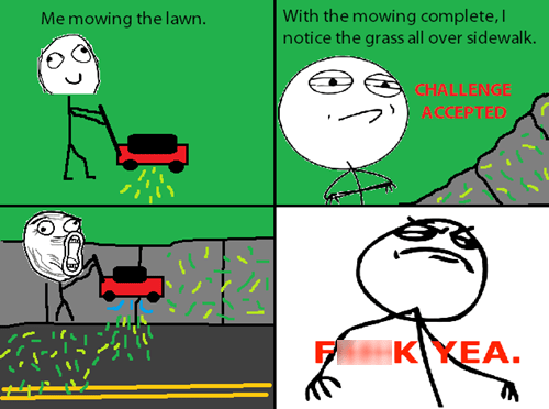 Like a Boss,Challenge Accepted,mowing the lawn,lawnmowers