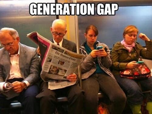 phones,newspapers,generation gap