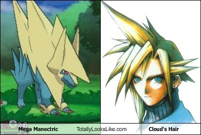 Pokémon,final fantasy,Videogames,totally looks like,mega manectric,cloud