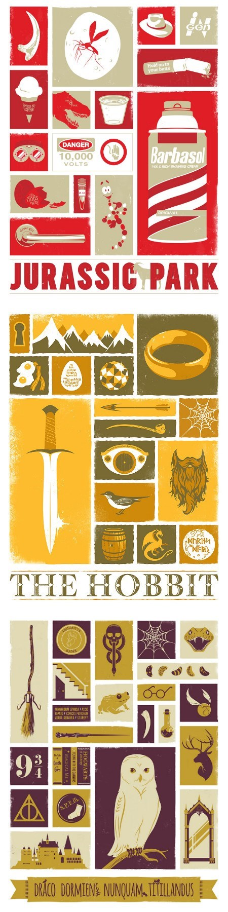 Harry Potter Lord of the Rings posters jurassic park