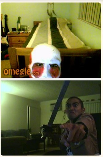 Omegle,trolling,anime,attack on titan