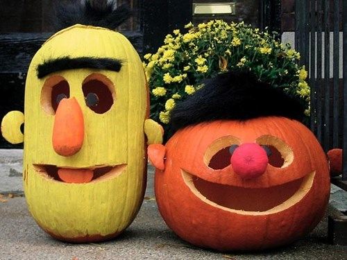 kids halloween jack o lanterns parenting Sesame Street bert and ernie g rated - 7856609024