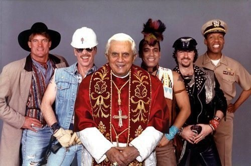 wtf,pope,village people,funny,seems legit