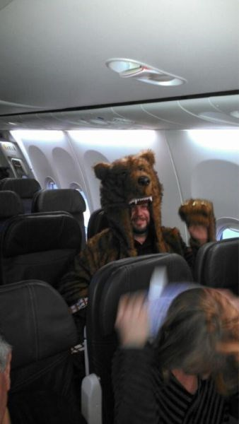 bear suit,Travel,funny,flying