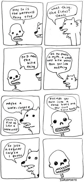 halloween,werewolves,skeletons,funny,web comics