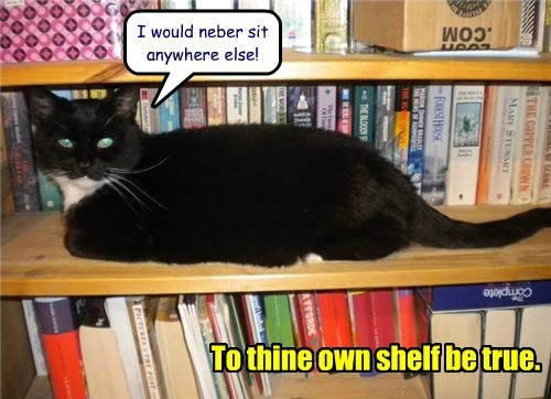 I would neber sit anywhere else! To thine own shelf be true.