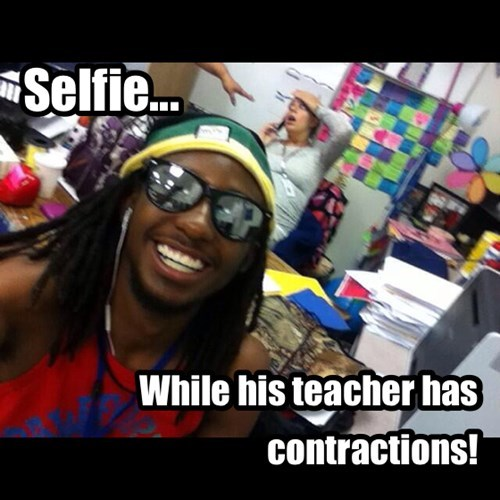 teacher,selfie,pregnant,funny,contractions