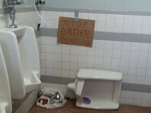 bathrooms urinals out of order - 7858317568