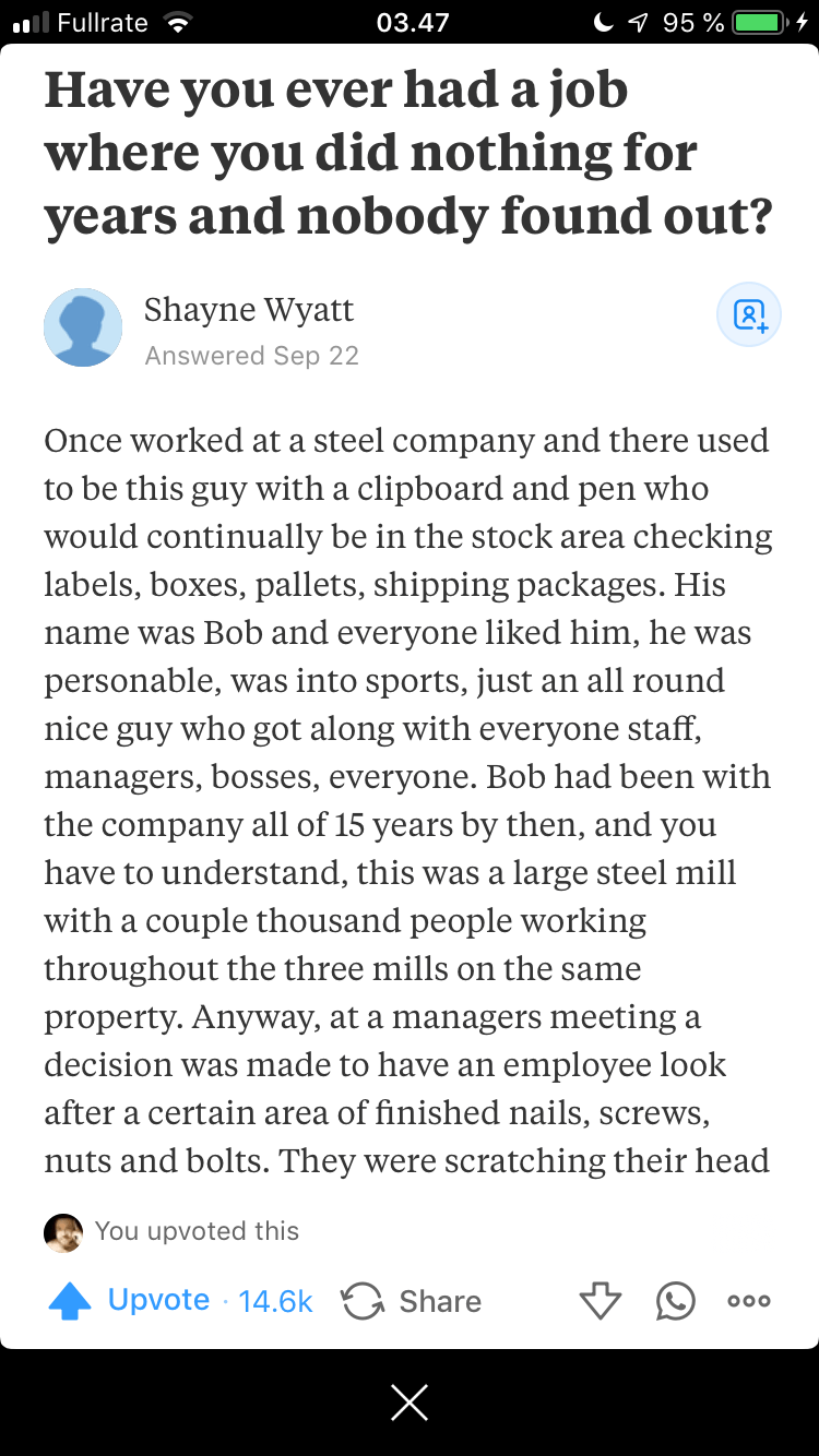 jobs job doing nothing quora funny story funny - 7858437