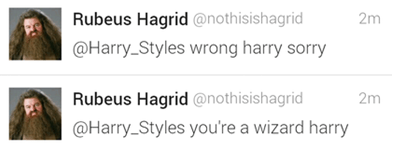 one direction twitter Harry Potter harry styles Hagrid - 7858720256