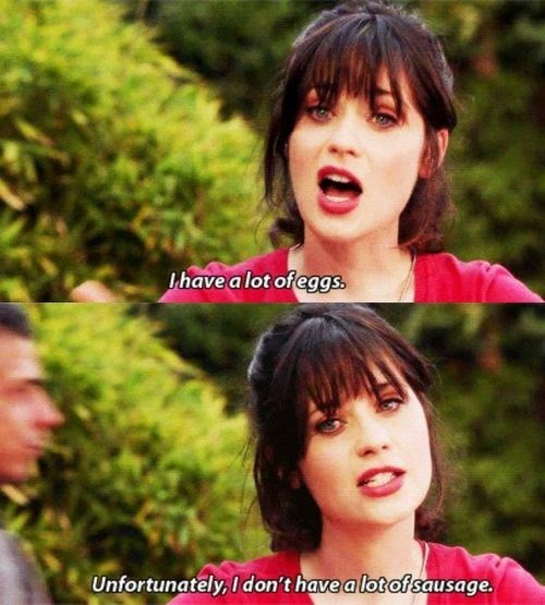 New Girl,zooey dschanel,eggs,sausage