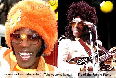glasses,totally looks like,dj lance rock,sly and the family stone,funny,yo gabba gabba