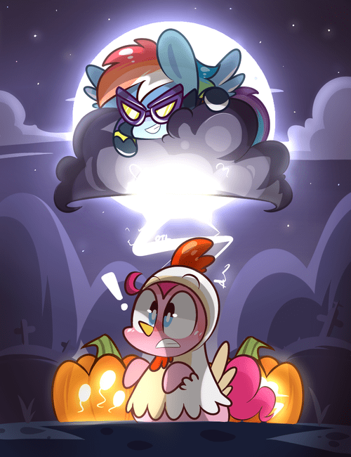 Fan Art,nightmare night,pinkie pie,rainbow dash