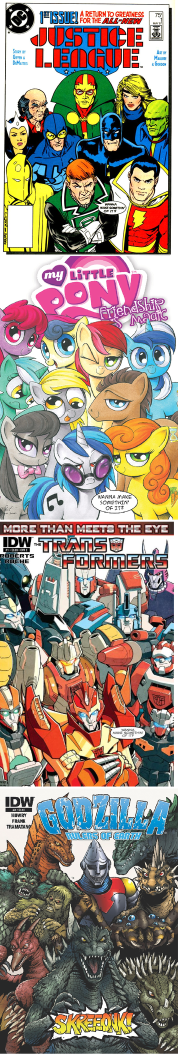 transformers,covers,off the page,justice league,MLP,comic book