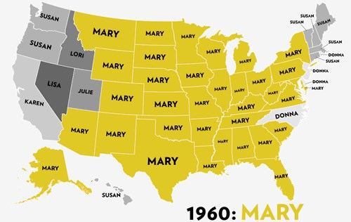 This GIF Shows the Most Popular US Baby Names for Girls Since 1960