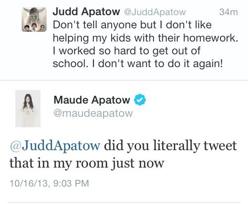 homework,clebrity twitter,judd apatow,parenting