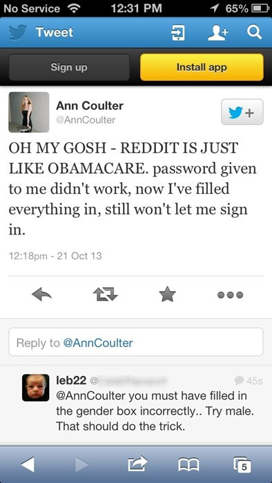 obamacare sick burn Reddit Ann Coulter