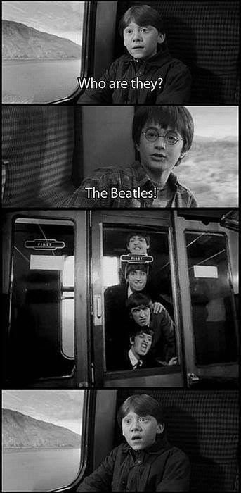 the Beatles,mashup,Harry Potter,hard-days-night,train