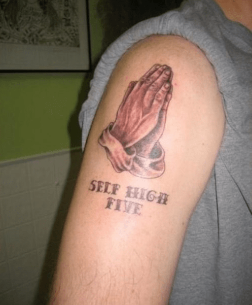 tattoos prayer self high five funny