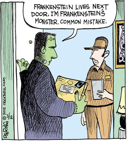 monster,frankenstein,deliveries,funny,web comics