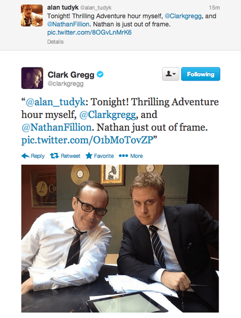 clebrity twitter agent coulson nathan fillion alan tudyk clark gregg agents of shield - 7864868096