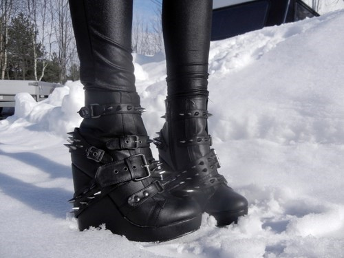goth shoes fashion winter black - 7864873984