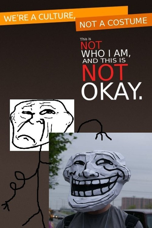 hallowmeme culture not a costume g rated troll face - 7865020416