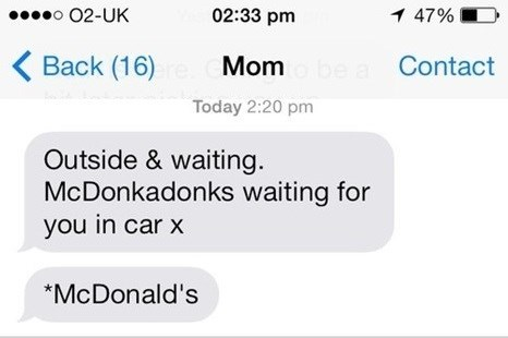 autocorrect text McDonald's - 7865043456