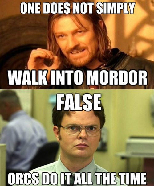Lord of the Rings one does not simply dwight schrute orcs Boromir false - 7865239808
