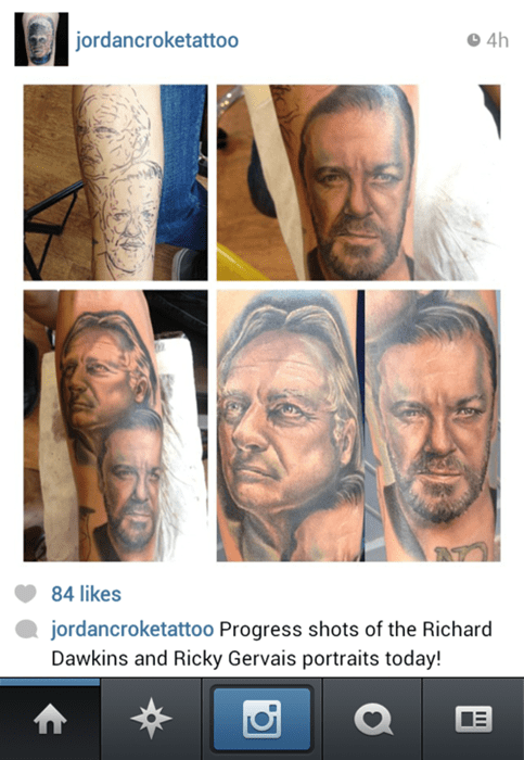 richard dawkins,tattoos,funny,ricky gervais