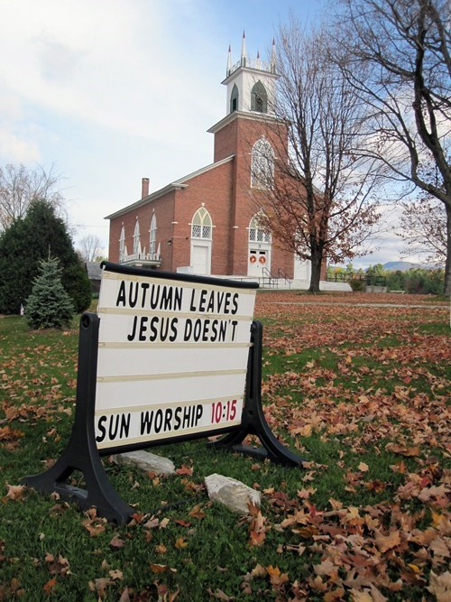 autumn sign religion puns