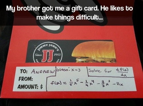 gift card,jimmy johns,math,funny