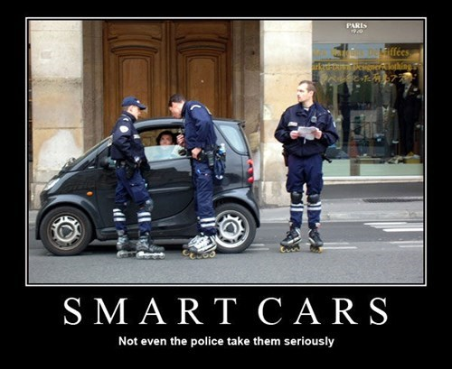 cops smart cars roller blades funny