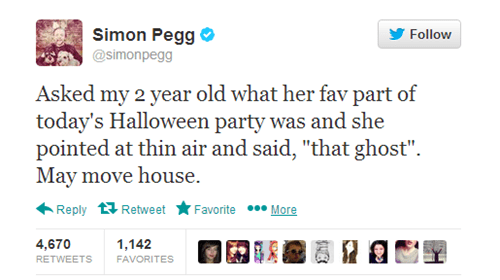twitter Simon Pegg kids halloween parenting g rated