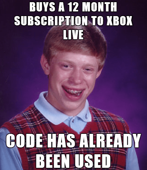 bad luck brian gamers Memes - 7868083456