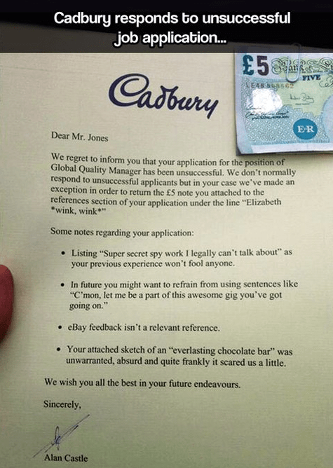 job applications Cadbury resumes monday thru friday g rated